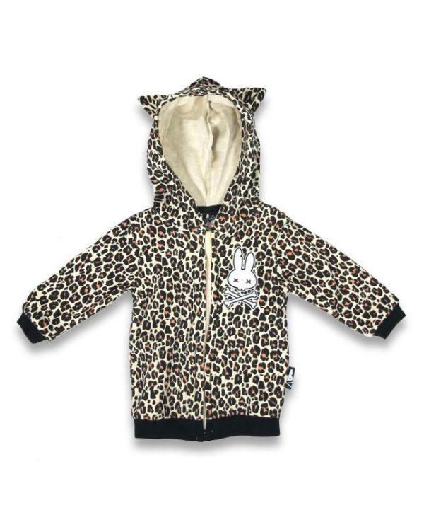 Sweat shirt pur bébé imprimé léopard