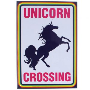 Plaque licorne en metal